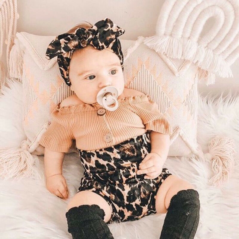 0-18M Newborn Infant Baby Girls Leopard Clothes Set Knitted Ruffles Tops T Shirt Bow Bloomer Shorts Summer Outfits