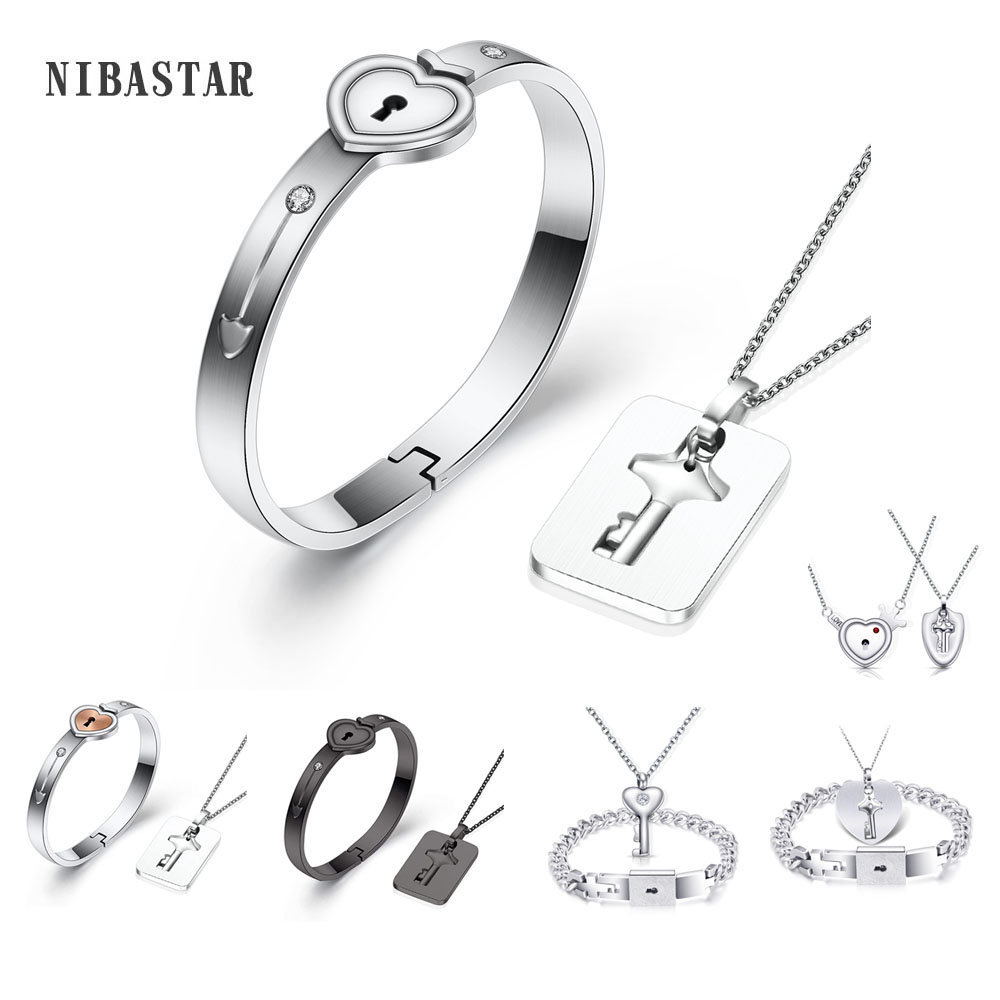A Couple Lover Jewelry Sets Stainless Steel Love Heart Lock Bracelets Bangles Key Pendant Necklace Couples(China)