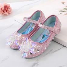 Disney Frozen Elsa Princess Girls Leather Crystal Shoes Glitter Casual Flat Heels Girls Sandals Pink Blue Silver Elsa Shoes
