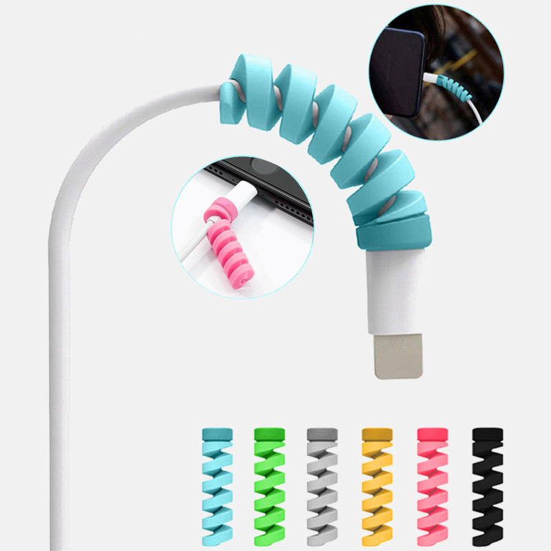 6 Color Silica Gel USB Charger Saver Cover Soft Prevents Breakage Spiral Cable Cord Saver Cover Apple IPhone 8 X  Protector