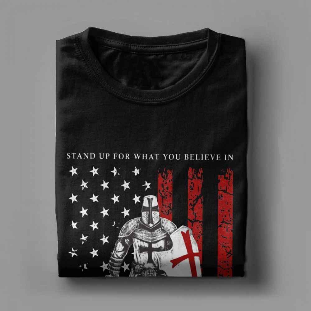 Cavaliere Templare T-Shirt Da Uomo Crociato Guerriero 100% di Cotone Bandiera Americana Camicette Vintage Tee Camicia di Estate T-Shirt