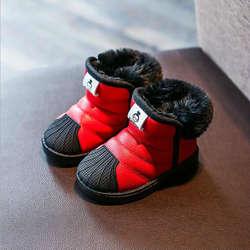 Зимние новые стильные детские зимние ботинки для малыша с толстой резиновой подошвой, обувь с хлопковой подкладкой для маленьких девочек