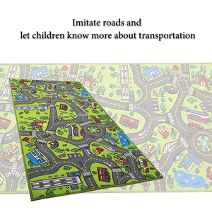 Image 4 - Children Road Traffic Game Mat Town City Blanket Green Road Child Play Mat Carpet For Baby Crawling Blanket Floor Carpet Rug Mat