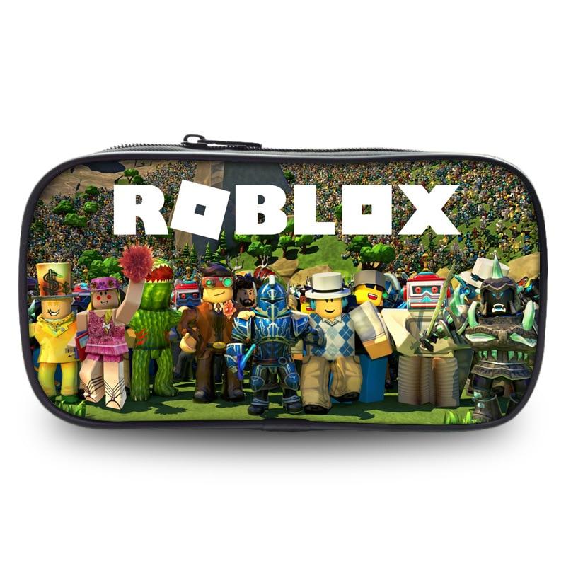 Roblox Bag Zipper Pencil Case Twill Canvas Large Pen Box Pencil