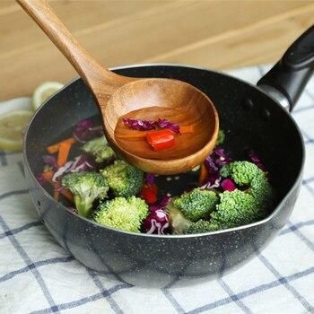 Natural Wood Tableware Bamboo Utensils Tool Spoon Ladle Turner Long Rice Colander Soup Skimmer Cooking Spoons Scoop Kitchen Set 5