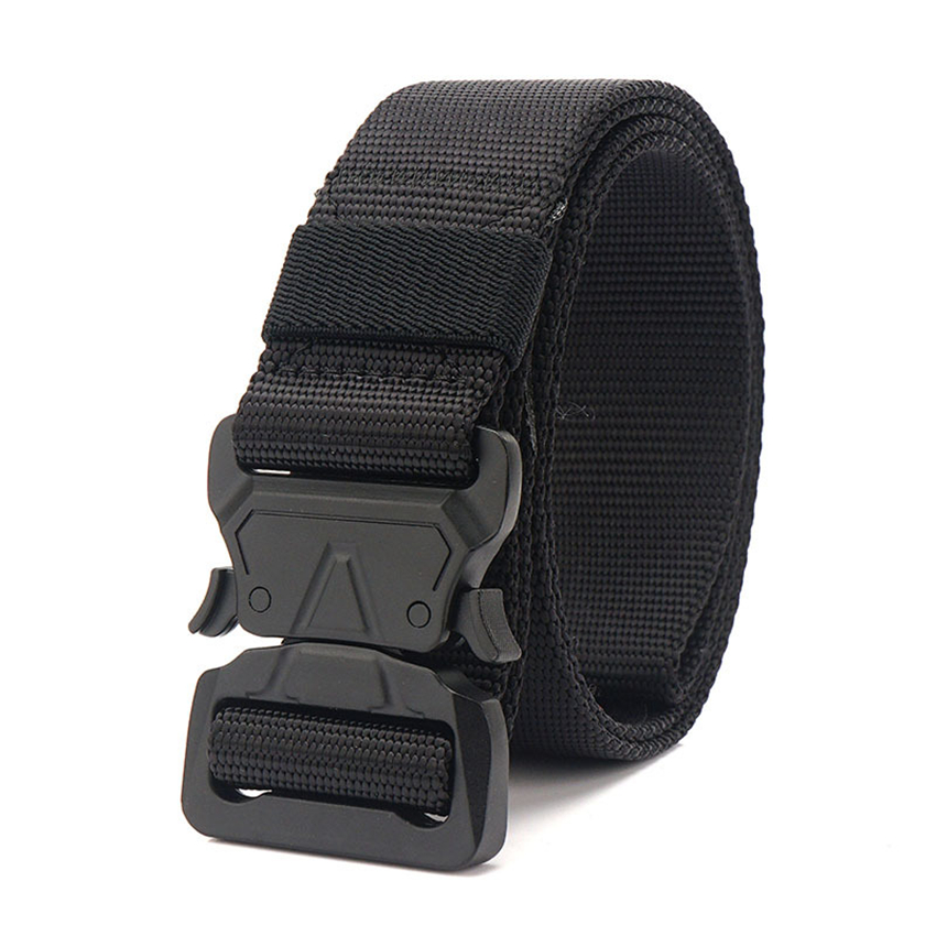 9 Colors Canvas Army Belt Men Tactical Designer Trousers Belts Long Waist Belt Black Metal Buckle Quick Release Nylon Cobra Belt