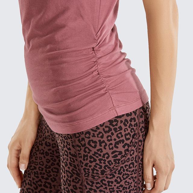 Pima Cotton Short Sleeve T-shirt with Side Shirring