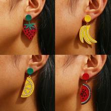 AENSOA 2019 New Fashion Fruit Drop Dangle Earrings Trendy Boho Lovely Sweet Handmade Strawberry Lemon Statement Alloy Earring