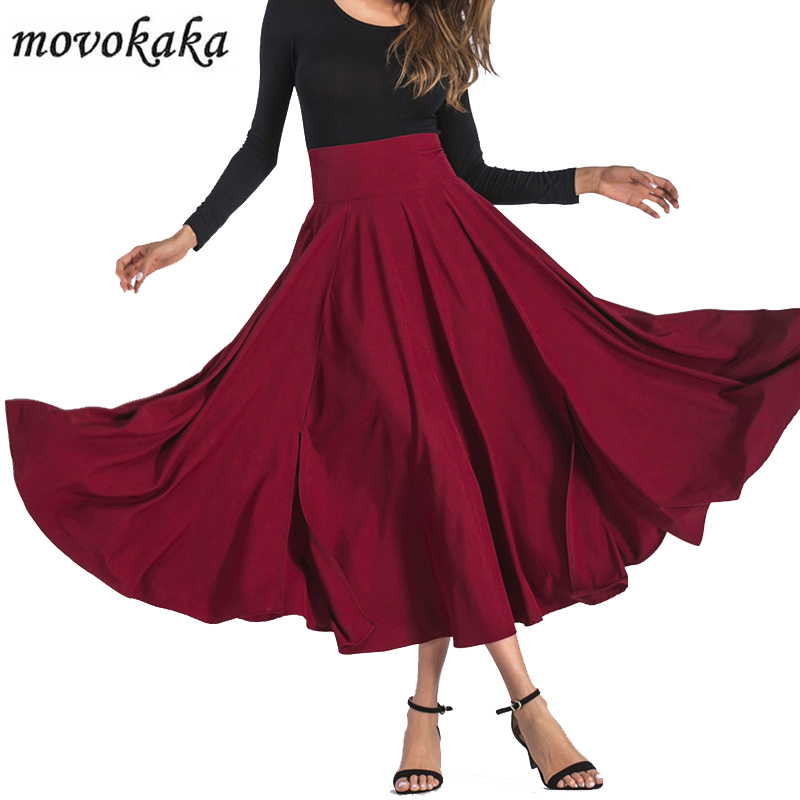 MOVOKAKA Fashion Long Maxi Skirt Women High Waist Pockets Vintage Women's Skirt Summer 2020 Bow Pleated Skirts Womens Plus Size