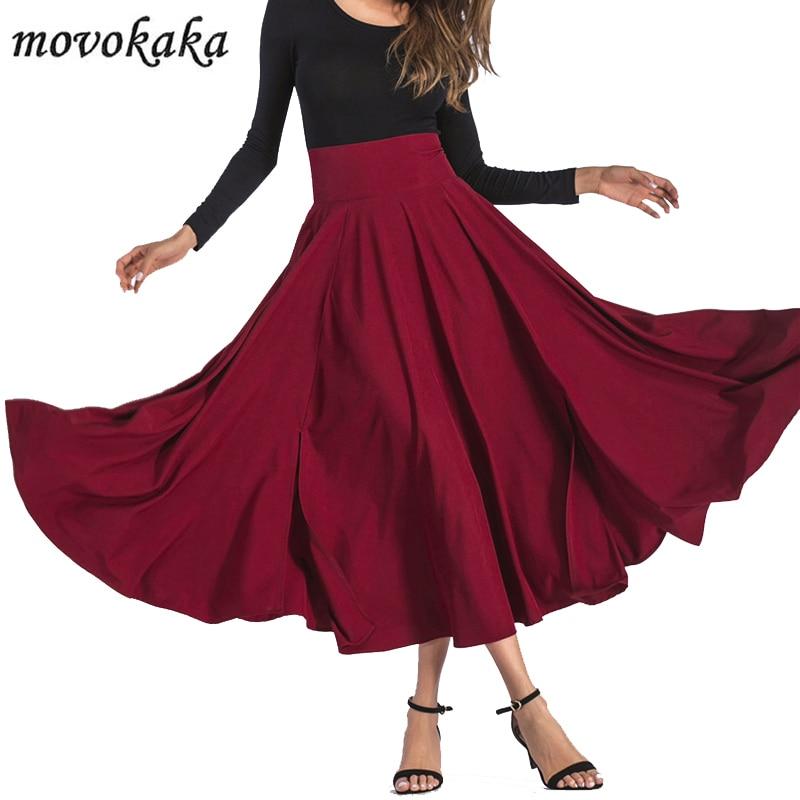 MOVOKAKA Fashion Long Maxi Skirt Women High Waist Pockets Vintage Women's Skirt Summer 2020 Bow Pleated Skirts Womens Plus Size
