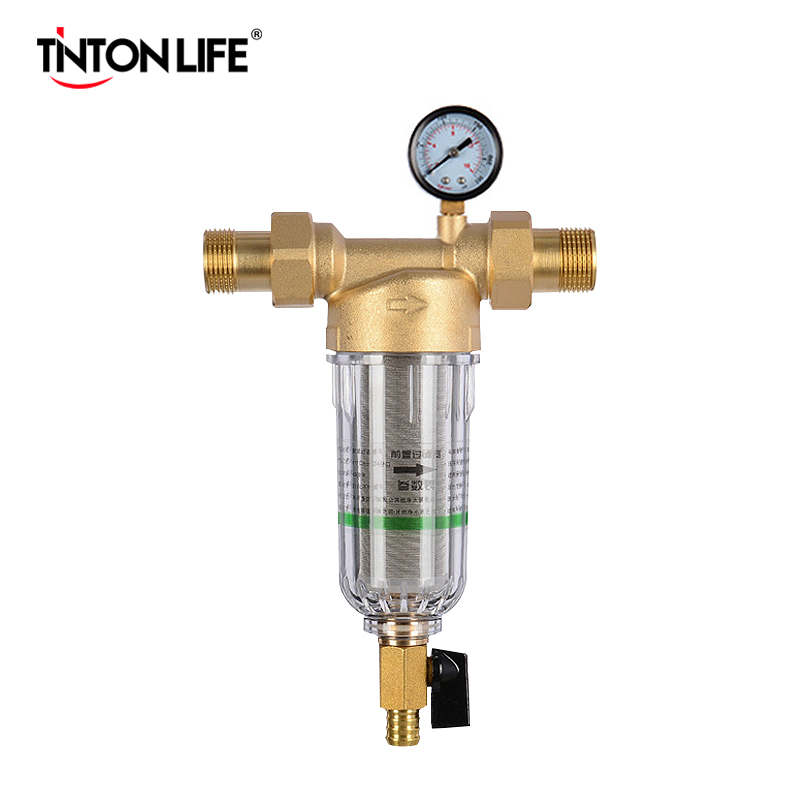 Water Pre Filter System 1inch With 2/5 Inch Brass Mesh Prefilter Of Central Water Purifier Descaling With Pressure Gauge