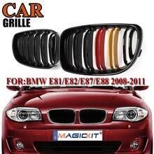 цена на MagicKit Grille For BMW 1 Series E81 E87 E82 E88 118i 128i 2007 2008-2013 Gloss Black M Color Double Slat Car Front Grille