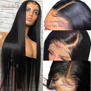Image 4 - Peluca con cierre brasileño, pelo liso, densidad 180%, prearrancada con pelo de bebé 4x4, peluca de cierre, 100% Arabella, pelucas de cabello humano Remy
