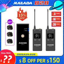 Mailada Vlog Go UHF Condensor Wireless Microphone System Video Recording Lavalier Lapel Mic for iPhone Android DSLR pk Rode