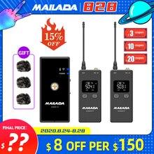 Mailada Vlog Đi UHF Condensor Micro Không Dây Hệ Thống Ghi hình Lavalier Cài Ve Áo Mic cho iPhone Android DSLR PK Cưỡi Ngựa
