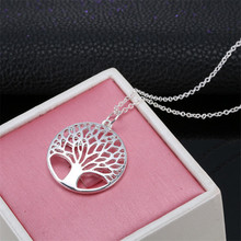 Punk style fashion life tree necklace round wishing hollow pendant birthday party jewelry