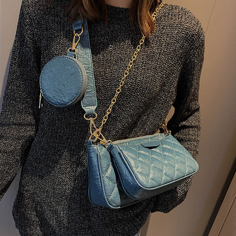 Vintage Fashion Female Tote New High Quality PU Leather Women's Designer Handbag Double Chain Shoulder Messenger Bags