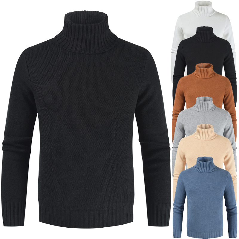New Brand Clothes Winter Men'S Sweater Men'S Turtleneck Solid Casual Thick Warm Sweater Men Fashion Knitted Pullovers