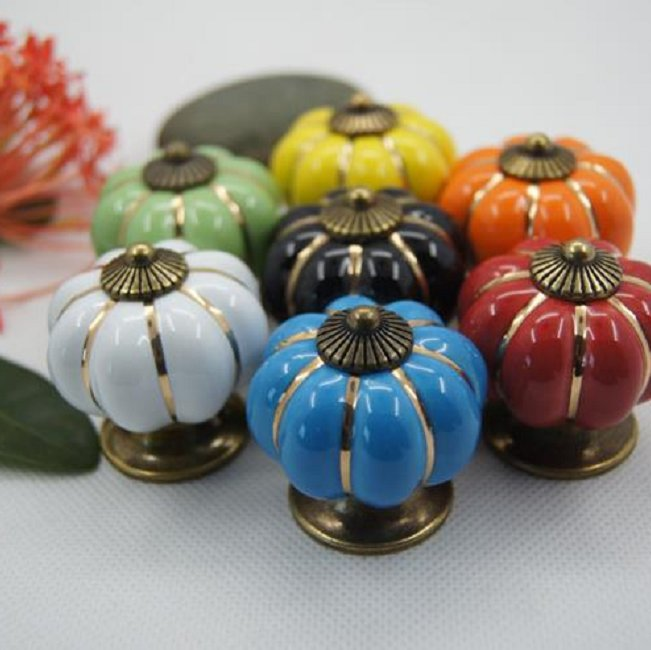 2020 New Colorful Kitchen Ceramic Door Cabinets Cupboard Pulls Handles 1Pc Vintage Pastoralism Pumpkin Ceramic Knob Hot Sale