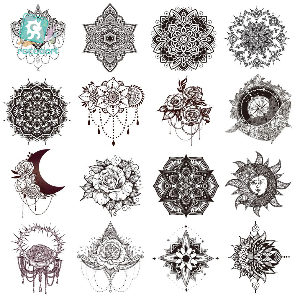 1Sheet Women Sexy Arm Fake Black Tattoo Henna Mandala Flower Temporary Tattoo Girls Beauty Flora Waterproof Tatoos Indian Mehndi