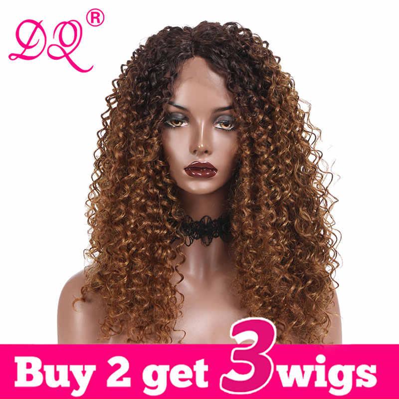 Dq longo afro kinky encaracolado peruca dianteira do laço sintético das mulheres resistente ao calor fibra cosplay peruca ombre marrom peruca preta vermelha parte do meio