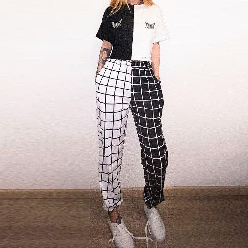Autumn Women Pants Fashion Streetwear Black and White Plaid Print Loose Elastics Waist Harem Pants