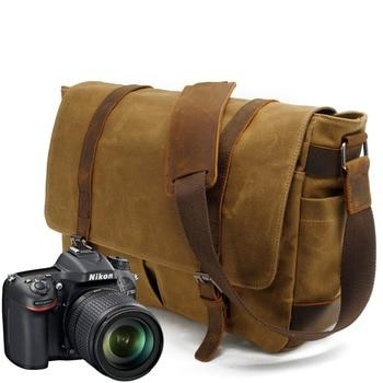 Camera Bag Waterproof Portable Vintage Canvas DSLR Camera Shoulder Diagonal Shoulder Messenger Bag For Canon Nikon Sony Olympus