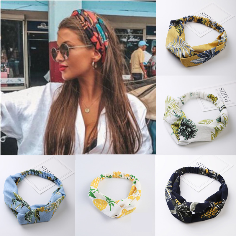Bohemian Style Hairbands Print Headbands For Women Bandage Bandanas Women Hair Accessories Retro Cross Knot Turban