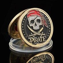 Moeda de ouro do navio pirata de caveira, moeda de tesouro, leão do mar, corrida, selvagem, colecionável, vaule, moeda, 2020