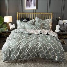 Nordic Adults Bed Linens Set US Twin Home Decorative Bed Grid Printed Lattice Bedding Set Pillowcase Single Duvet Cover Set