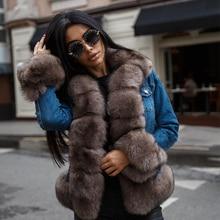 デニムパーカーリアルファーコート冬のジャケットの女性本物の自然なキツネの毛皮のコート厚く暖かい毛皮パーカーリアル毛皮ジャケット furclub Tatyana