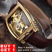 Transparent Tourbillon Watch Men SHENHUA Gold Case Genuine Leather Wrist Watch Self Winding Mens Automatic Mechanical Watches