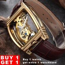 Transparent Tourbillon Watch Men SHENHUA Gold Case Genuine Leather Wrist