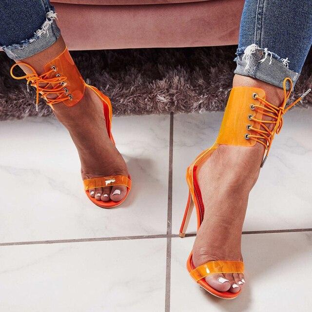 11 Cm Sexy talons hauts chaussures à talons à lacets mode femmes chaussures été femmes sandales Transparent femme pompes talons aiguilles