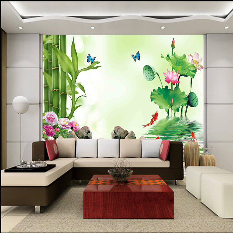 Chinese Style Pastoral Scenery Bamboo Lotus Wallpaper 5D TV Backdrop Wallpaper 3D Landscape Painting Living Room Mural