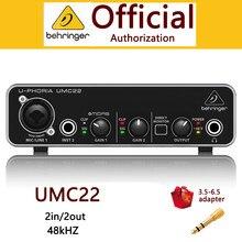 Behringer umc22 interface de áudio microfone amplificador de fone de ouvido placa de som