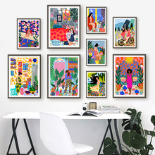 Multicolored Garden Plants Wall Art Canvas Painting Abstract Fashion Girl Poster and Prints Nordic Interior Decoration Pictures