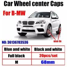 20 pçs 68mm 56mm branco blue10 pino centro da roda do carro hub tampas aro tampas emblema cobre emblema para bmw 1 3 5 7 x3 x5 m3 m5 36136783536