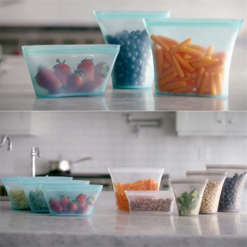 Silicone Food Storage Containers Set Fresh Bowl Cup Bag Reusable Stand Up Zips Shut Bag Fruit Vegetable Cup With Seal Organizer