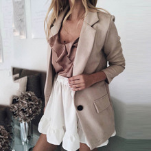Casual Blazer Women Basic Notched Collar Solid Blazer Pockets Tops Office Ladies Single Button Suit Jackets Plus Size women notched flare sleeve plaid print blazer short casual basic work single button office business blazer outwear british style