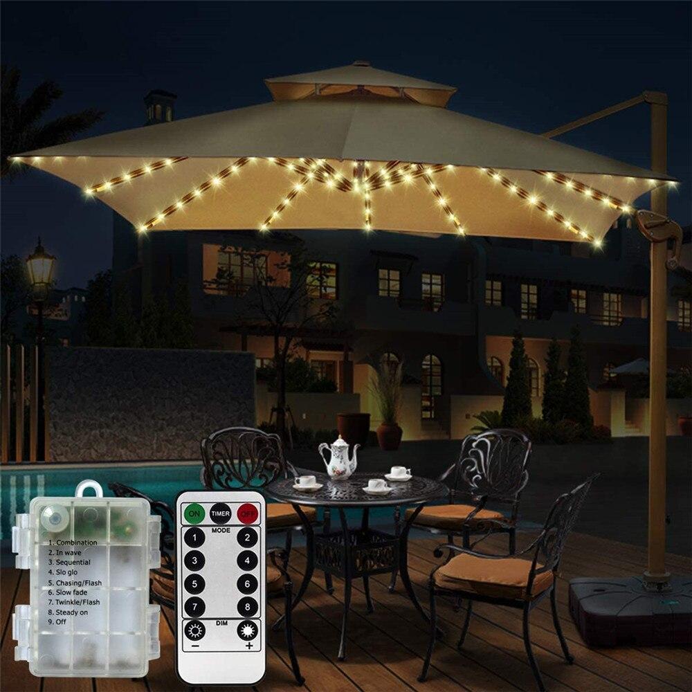 Solar 104LED 8 Strings Umbrella Tent String lights Waterproof 8 Lighting Modes Beach Umbrella Lamp for Outdoor Garden Wedding