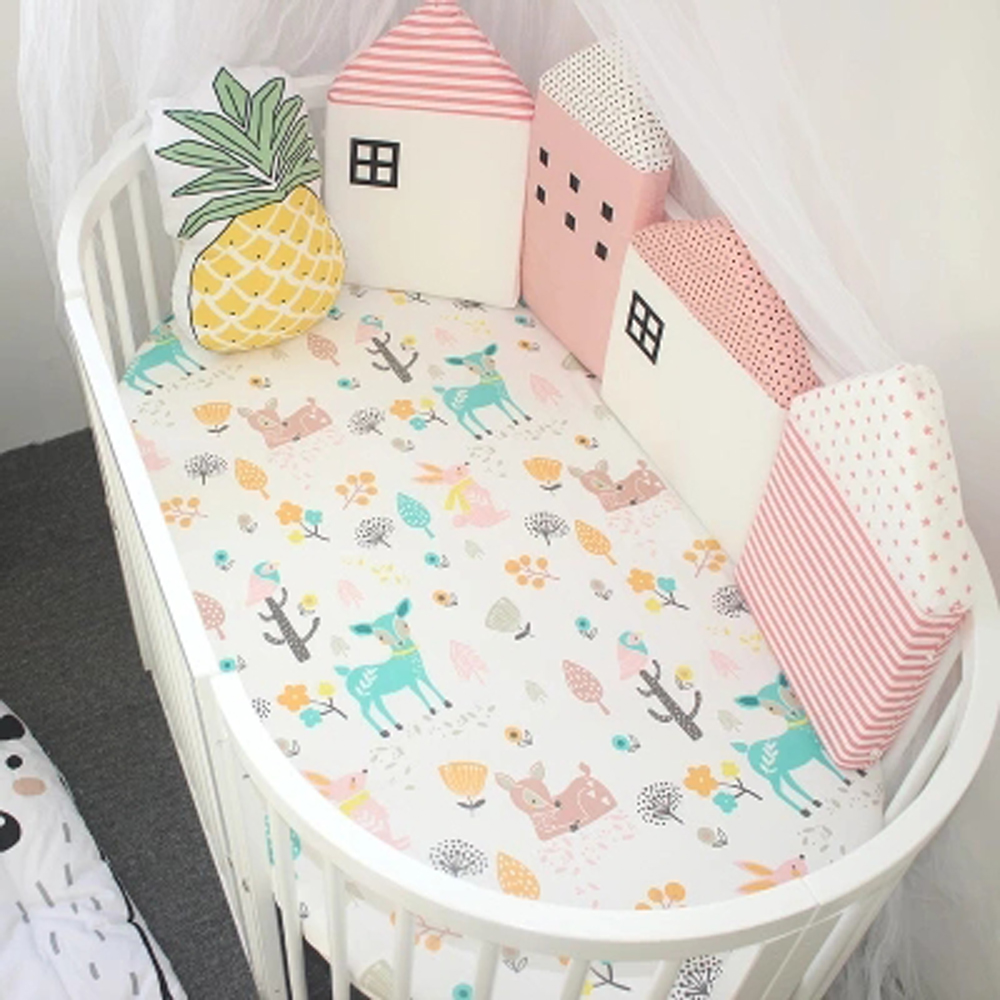 4 Pcs/Lot Crib Protector Baby Bed Bumper Infant Pillows Cradle Safety Fence Newborns Nordic Little House Pattern Decor Bumpers
