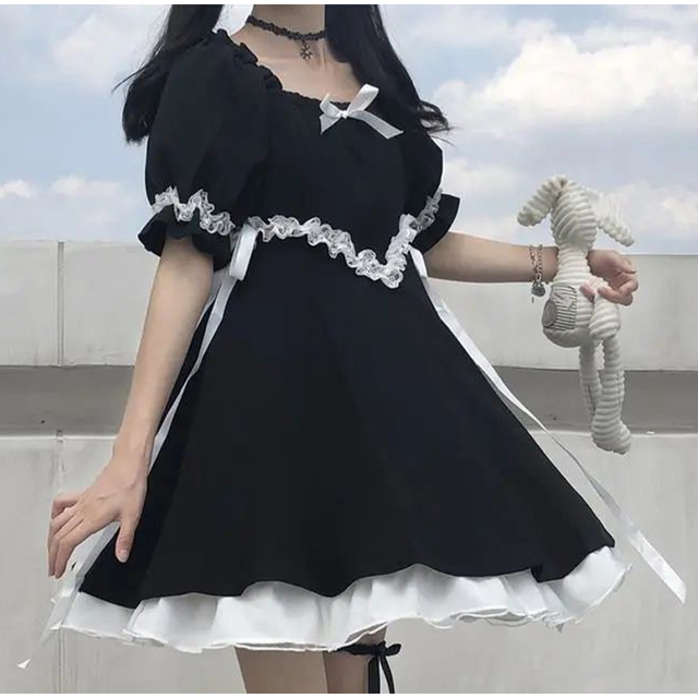 Japanese Summer Kawaii Soft Girly Dress Vintage Square Collar Cute Lace Lace Up Bow Sweety Ruffles Puff Sleeve Dress Black Dress 4