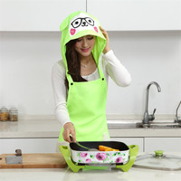 Korean style Meng Sheep Sheep Dustproof Oil Resistant Hair Care Apron Kitchen Cleaning Hooded Apron Set