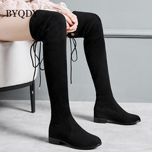BYQDY Plus Size 42 43 Flock Leather Women Over The Knee Boots Lace Up Sexy Thick Heels Autumn Woman Shoes Winter Thight boots