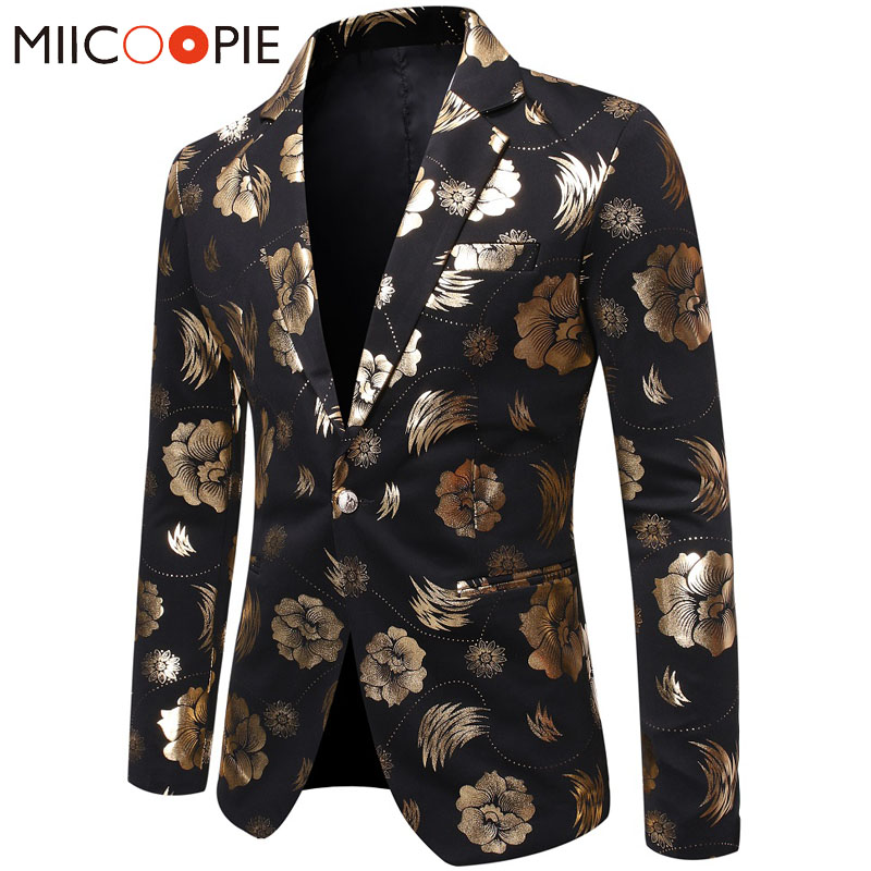 Rose Flowers Gold Bronzing Blazer Men Suits Fashion Casual Design Single Breasted Suit Jacket Nightclub Wedding Blazer Hombre