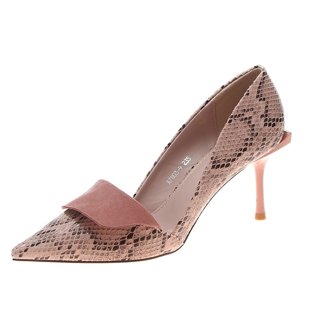 SAGACE Autumn Women's Pumps 2019 Slip-On Causal Shoes Women Pointed Toe Snake Shallow Mouth High Heels Sandals Women Shoes New