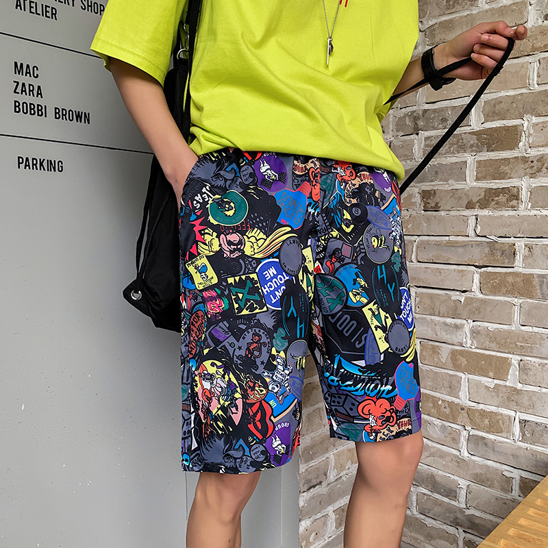 2020 Mens Short Shorts  6 Style Men Summer Beachwear Print Short Trousers Causal Drawstring Sportwear Male Shorts Plus Size