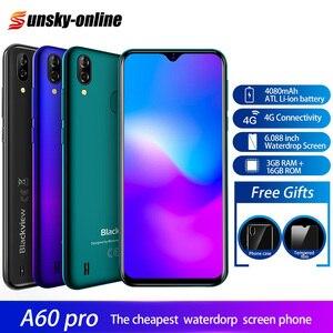 Смартфон Blackview A60 Pro, Android 9,0, 6,3-дюймовый экран Waterdrop, 3 Гб + 16 ГБ, двойная задняя камера, 6,088 мАч, двойной 4G мобильный телефон