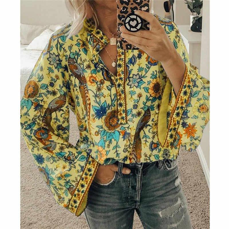GAOKE damski nadruk z pawiem bluzka w stylu boho elegancka bluzka w stylu Vintage z długim rękawem wiosna jesień kobiecy dekolt w szpic Blusa topy